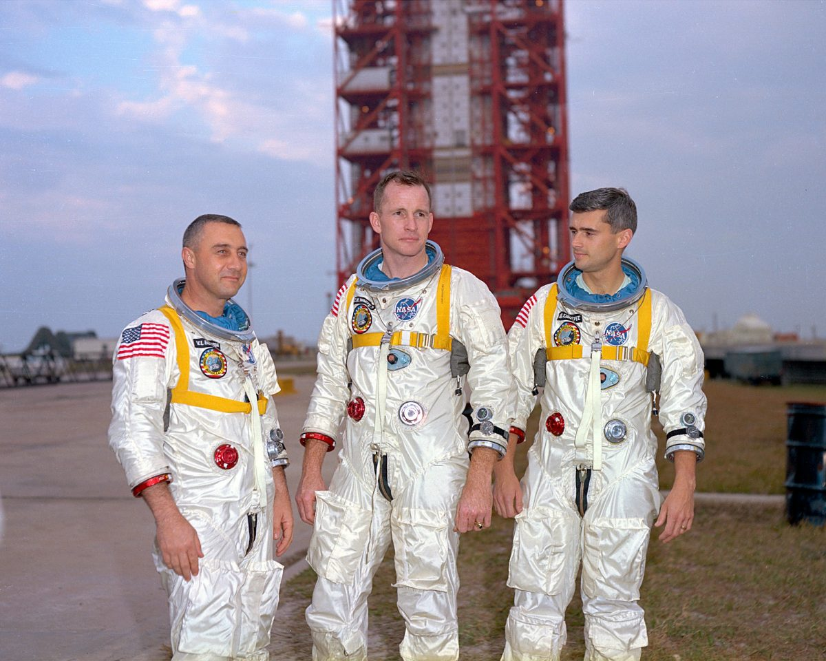The prime crew of the Apollo 1 mission are pictured during training in Florida. Left to right are astronauts Virgil I. Grissom, Edward H. White II, and Roger B. Chaffee. Credit: NASA file photo